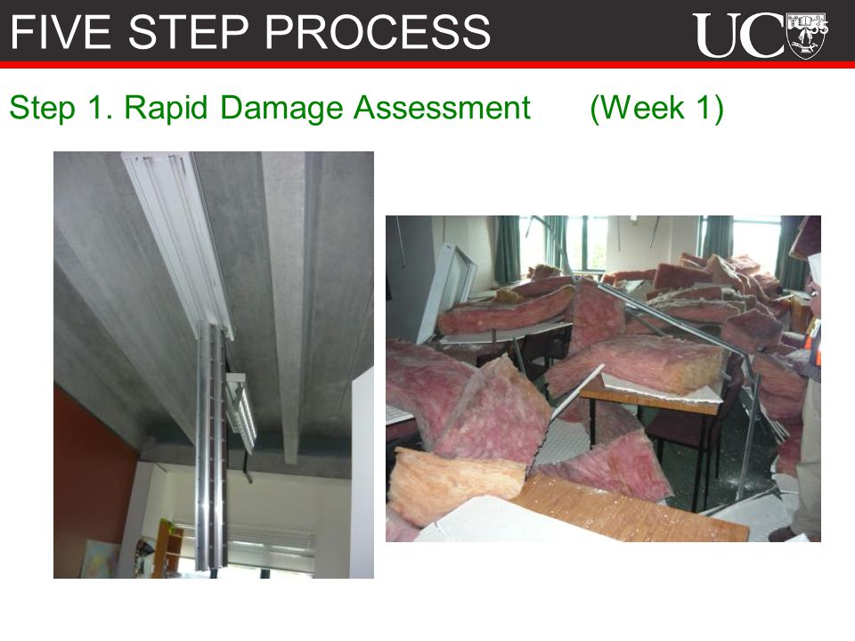 FIVE STEP PROCESS Step 1. Rapid Damage Assessment (Week 1)