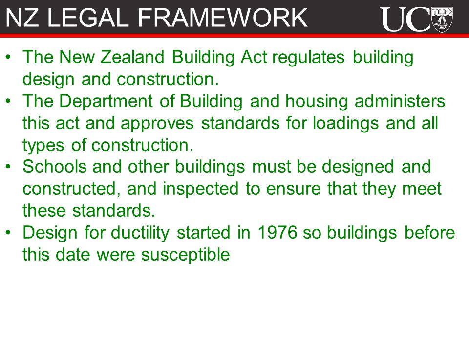 NZ LEGAL FRAMEWORK The New Zealand Building Act regulates building design and construction.
