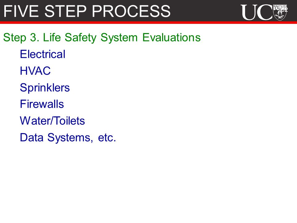 FIVE STEP PROCESS Step 3. Life Safety System Evaluations Electrical