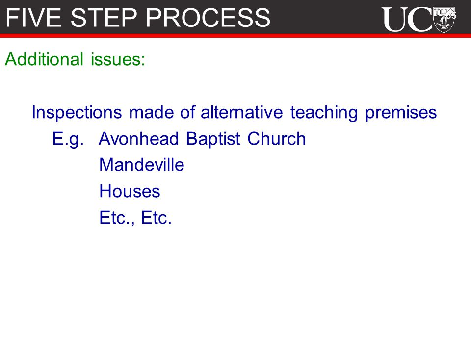 FIVE STEP PROCESS Additional issues: