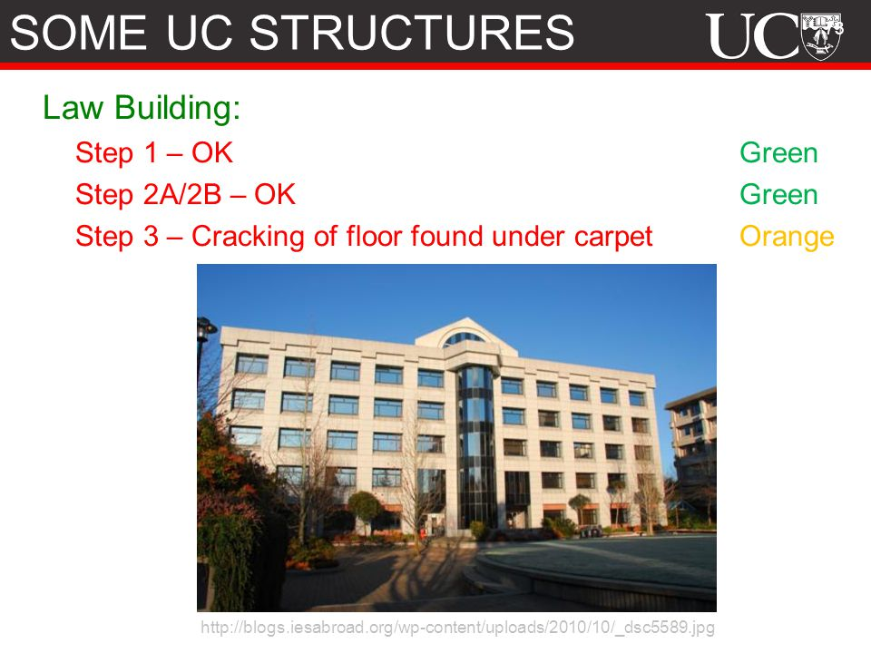 SOME UC STRUCTURES Law Building: Step 1 – OK Green