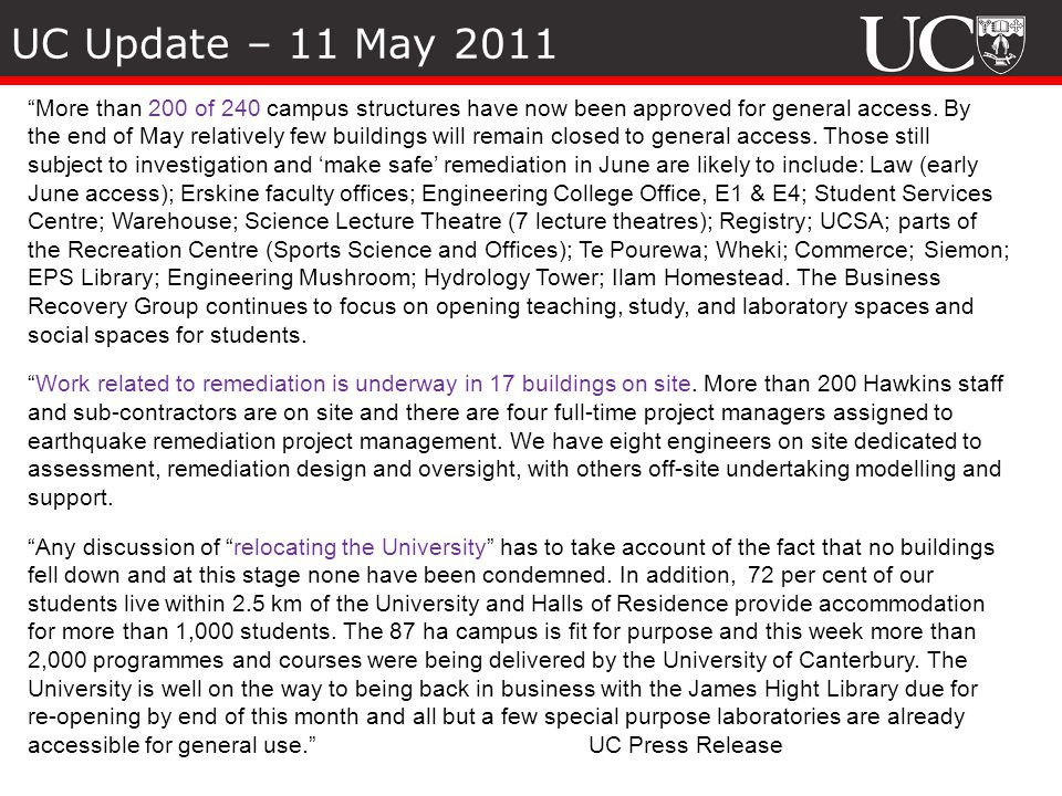 UC Update – 11 May 2011