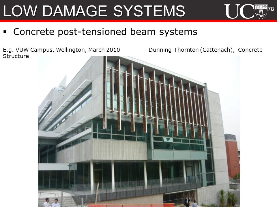 LOW DAMAGE SYSTEMS Concrete post-tensioned beam systems 78