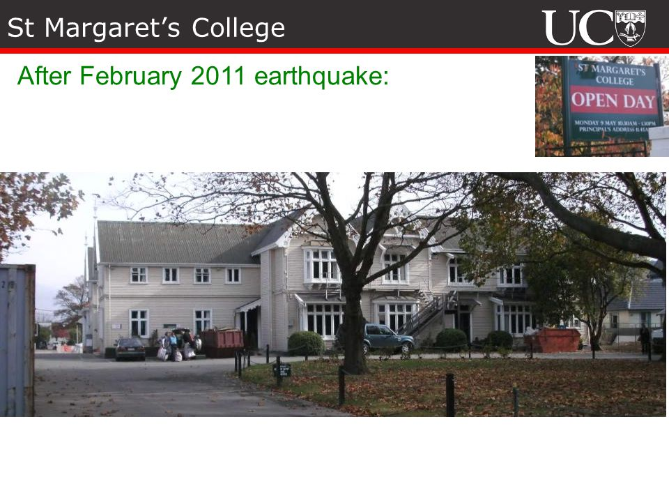 St Margaret's College After February 2011 earthquake: