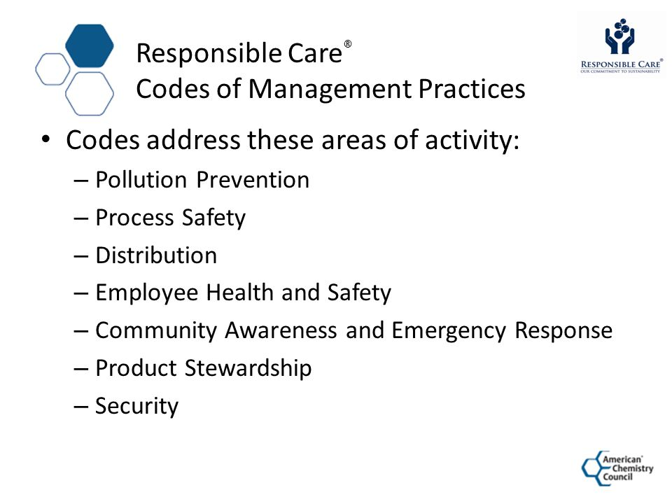 Responsible Care® Codes of Management Practices
