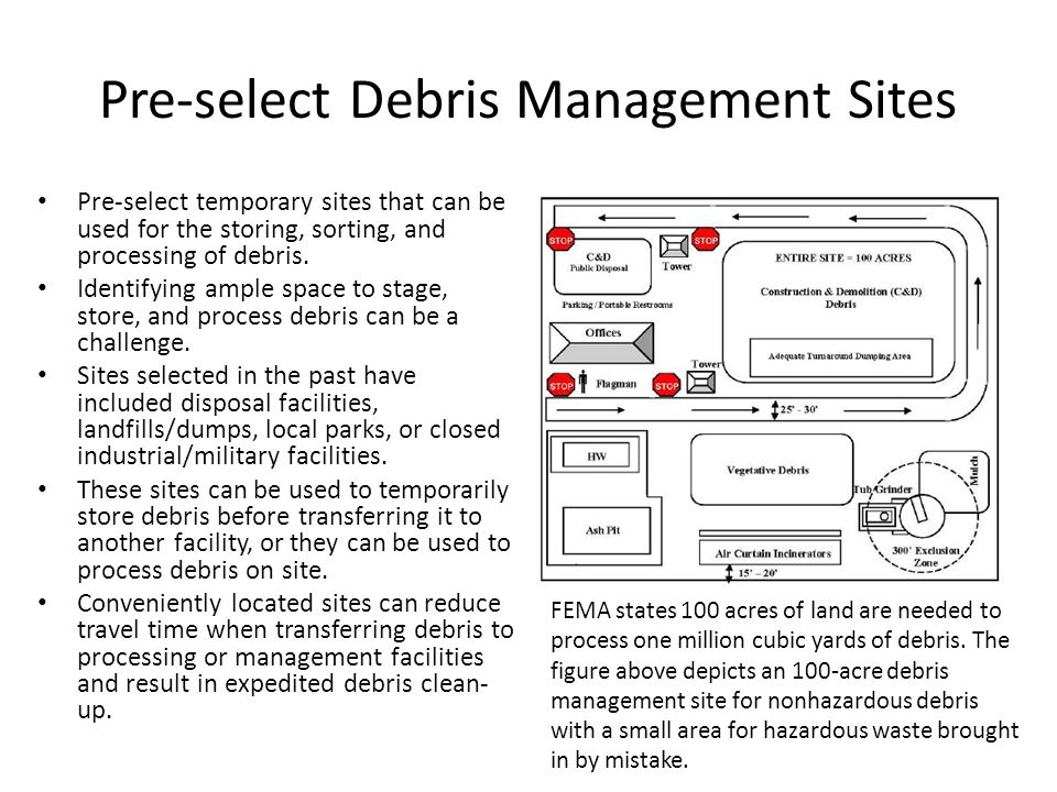 Pre-select Debris Management Sites