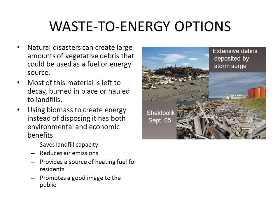 WASTE-TO-ENERGY OPTIONS