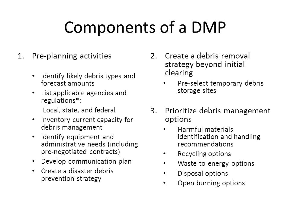 Components of a DMP Pre-planning activities