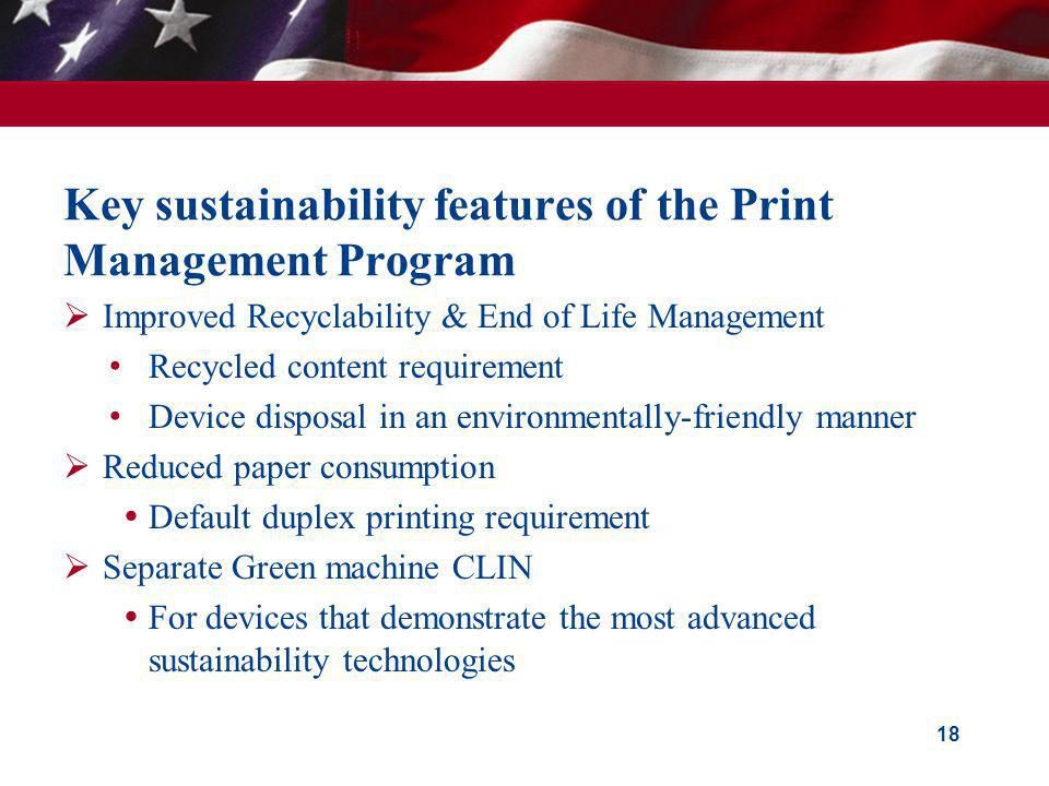Key sustainability features of the Print Management Program