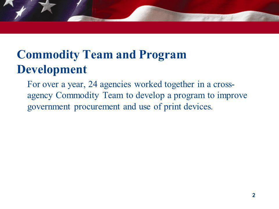 Commodity Team and Program Development