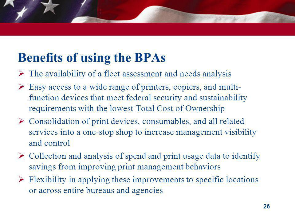 Benefits of using the BPAs