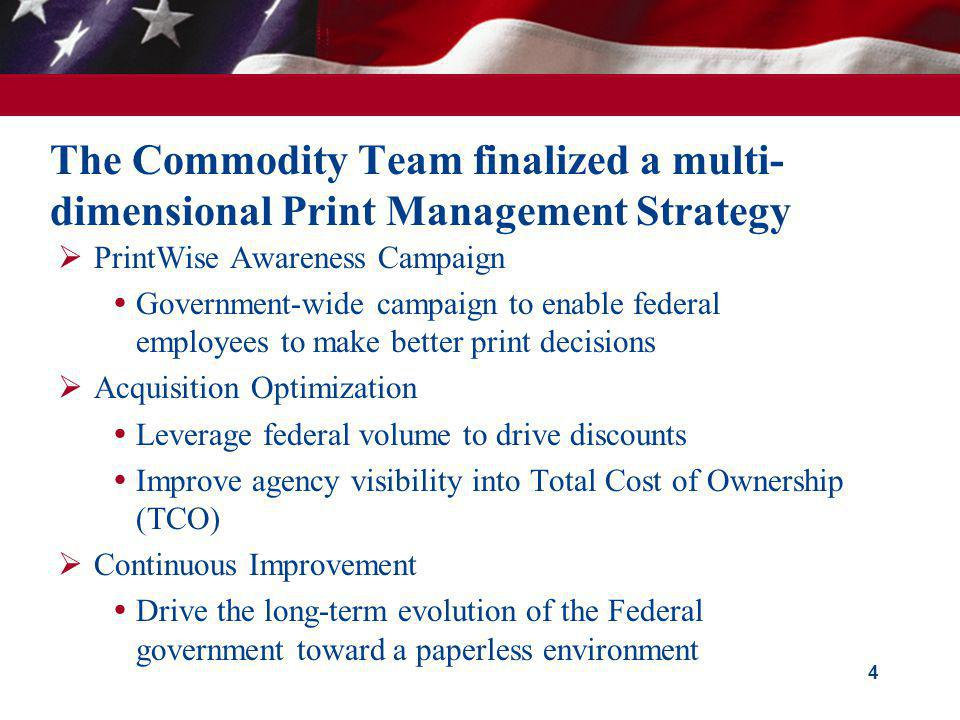 The Commodity Team finalized a multi-dimensional Print Management Strategy