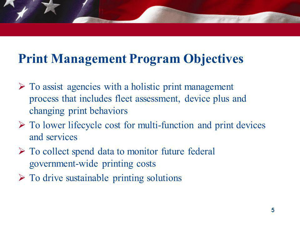 Print Management Program Objectives