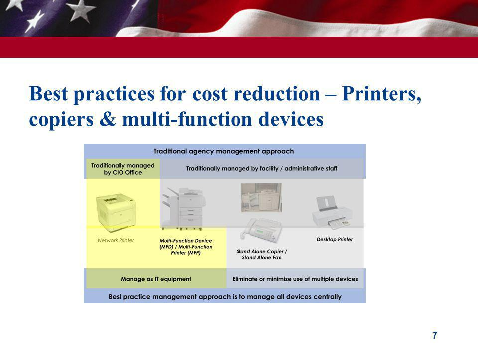 Best practices for cost reduction – Printers, copiers & multi-function devices