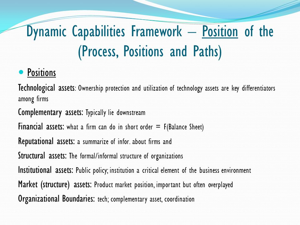 Dynamic Capabilities Framework – Position of the (Process, Positions and Paths)