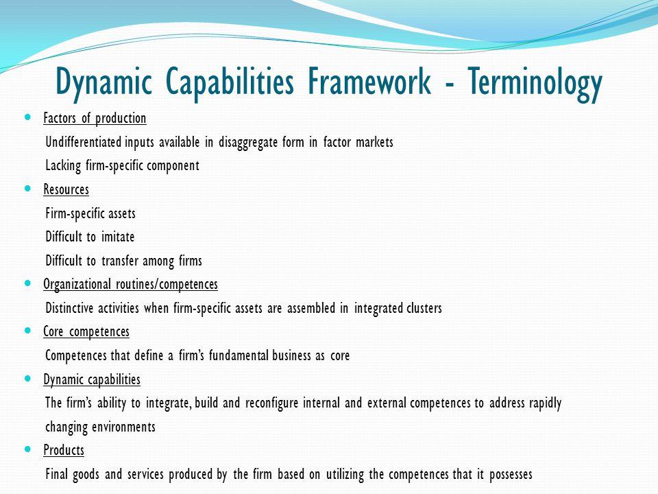 Dynamic Capabilities Framework - Terminology
