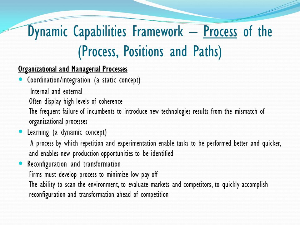 Dynamic Capabilities Framework – Process of the (Process, Positions and Paths)