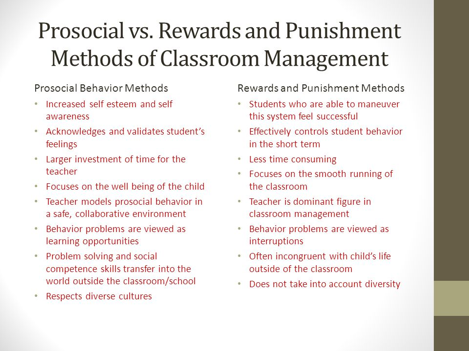 Prosocial vs. Rewards and Punishment Methods of Classroom Management