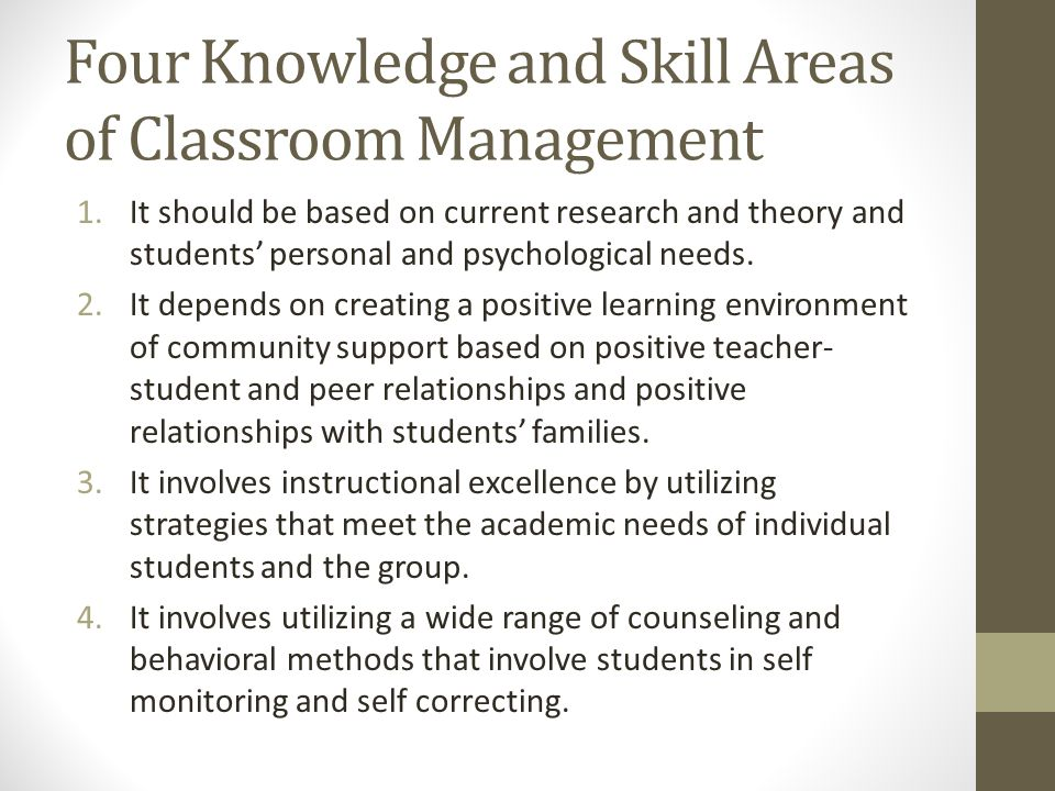 Four Knowledge and Skill Areas of Classroom Management