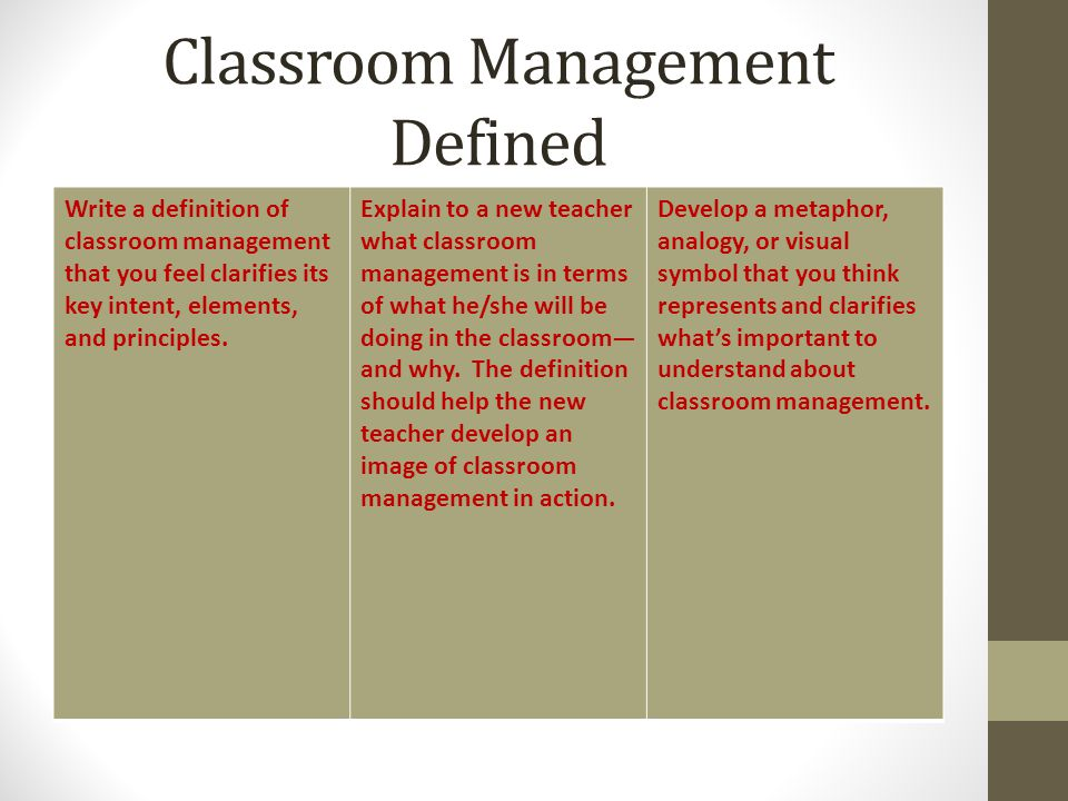 Classroom Management Defined
