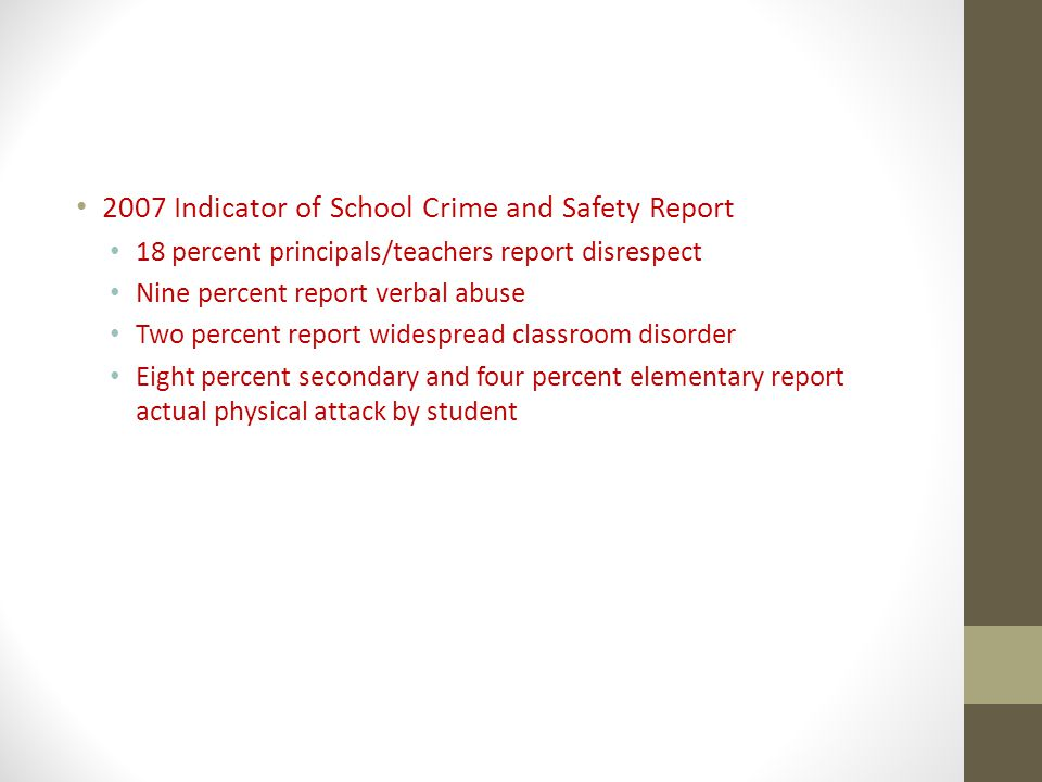 2007 Indicator of School Crime and Safety Report