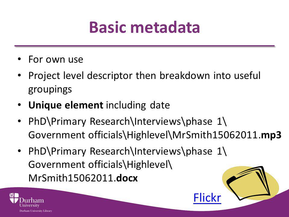 Basic metadata Flickr For own use