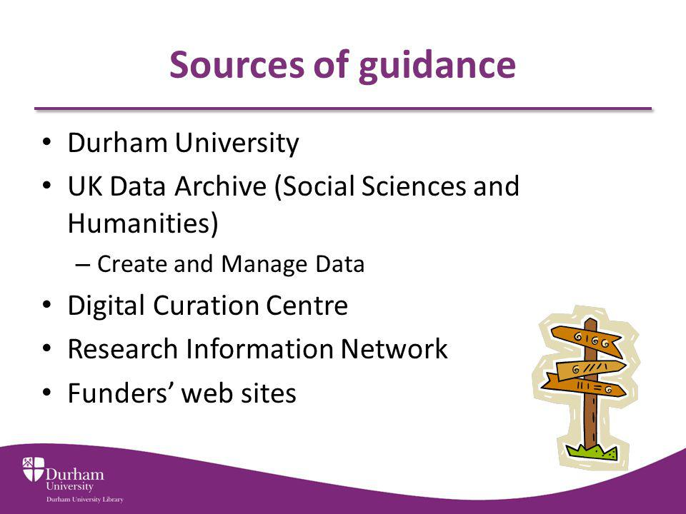 Sources of guidance Durham University