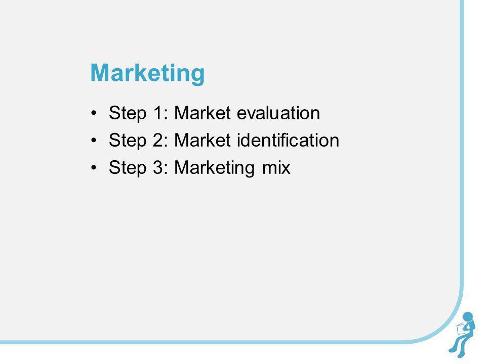 Marketing Step 1: Market evaluation Step 2: Market identification