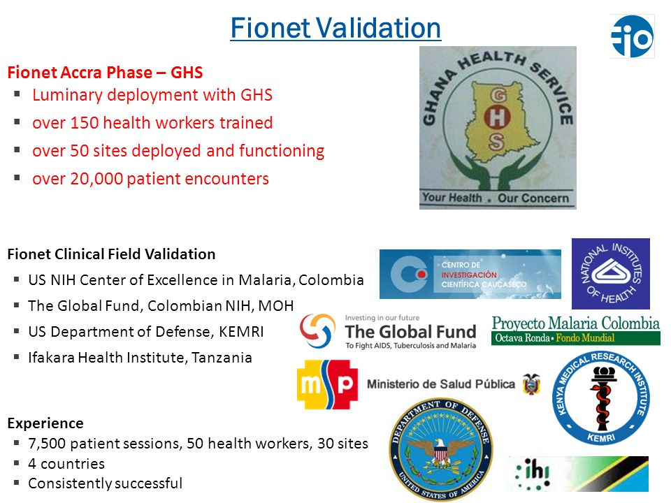 Fionet Validation Fionet Accra Phase – GHS