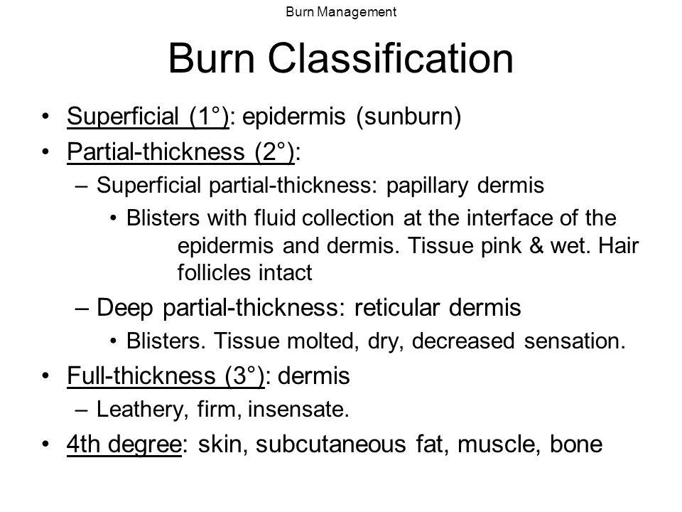 Burn Classification Superficial (1°): epidermis (sunburn)