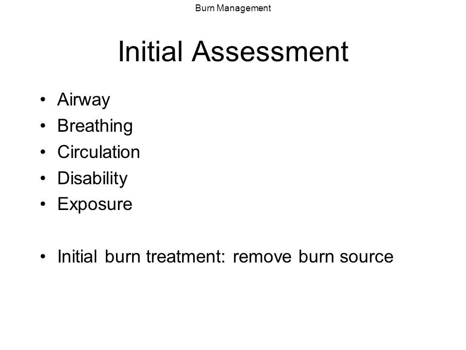 Initial Assessment Airway Breathing Circulation Disability Exposure