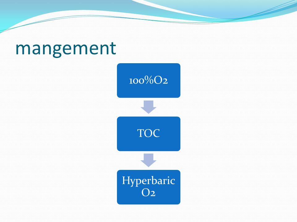 mangement 100%O2 TOC Hyperbaric O2