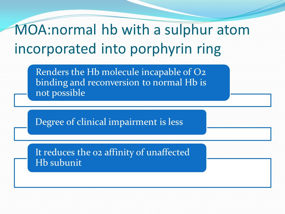 MOA:normal hb with a sulphur atom incorporated into porphyrin ring