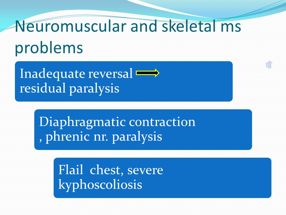 Neuromuscular and skeletal ms problems