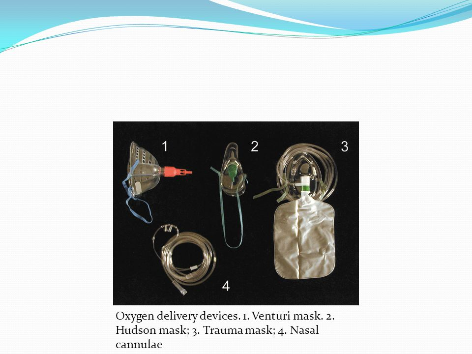 Oxygen delivery devices. 1. Venturi mask. 2. Hudson mask; 3