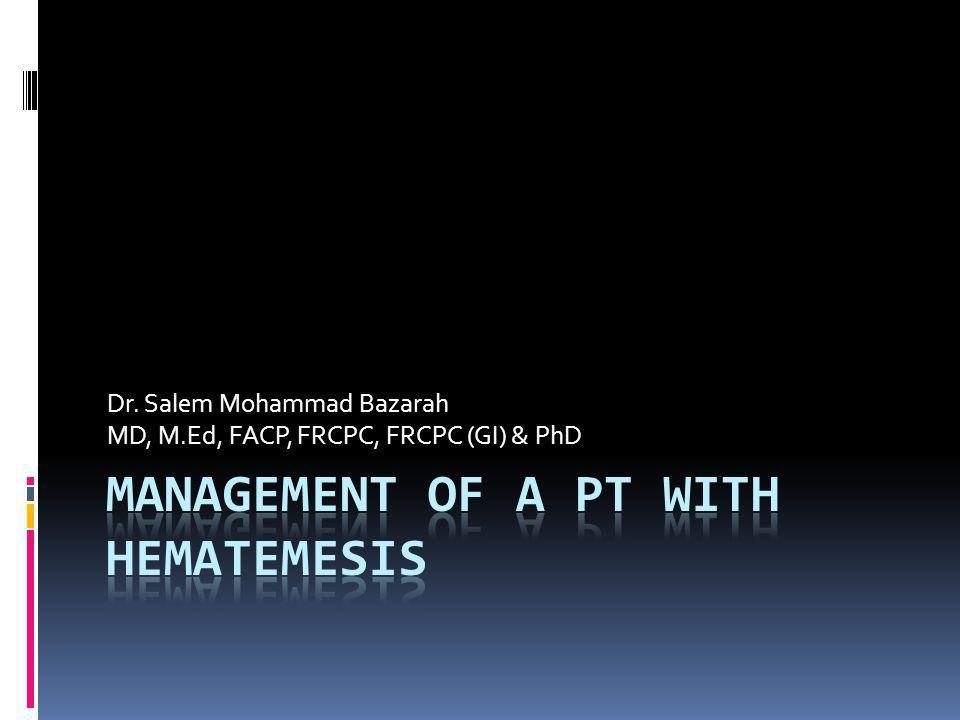 Management of a Pt with Hematemesis