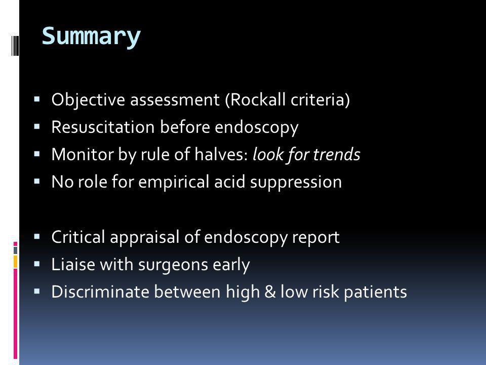 Summary Objective assessment (Rockall criteria)
