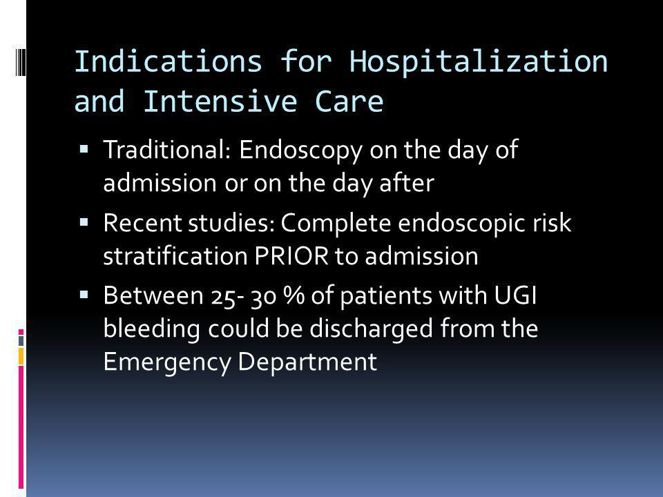 Indications for Hospitalization and Intensive Care