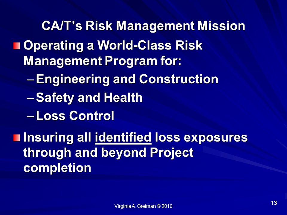 CA/T's Risk Management Mission
