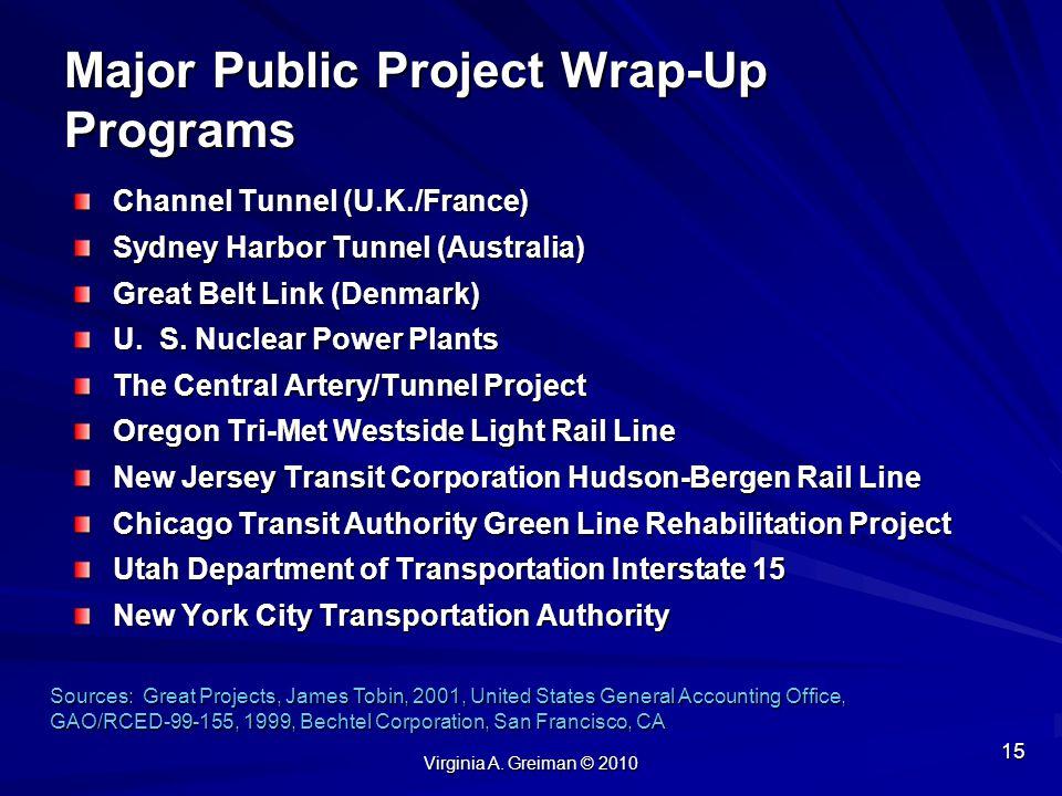 Major Public Project Wrap-Up Programs