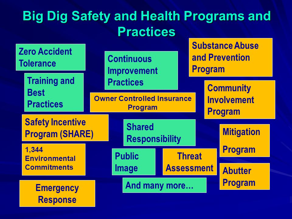 Big Dig Safety and Health Programs and Practices