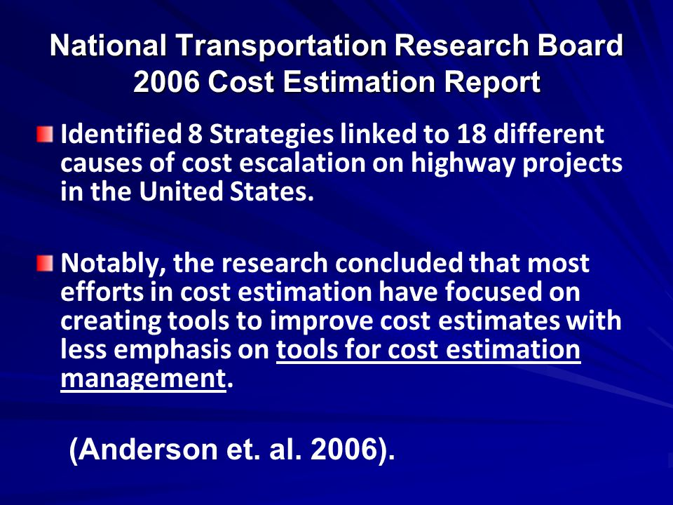 National Transportation Research Board 2006 Cost Estimation Report