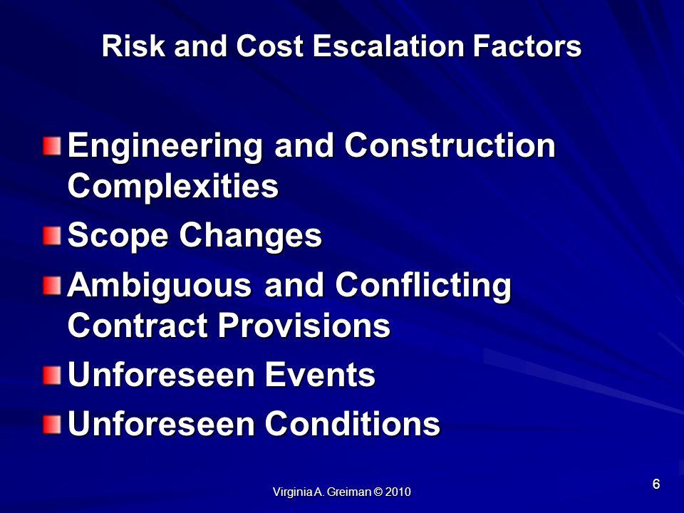 Risk and Cost Escalation Factors