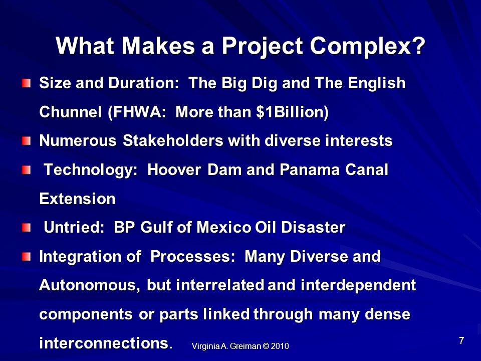 What Makes a Project Complex