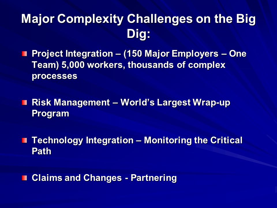 Major Complexity Challenges on the Big Dig: