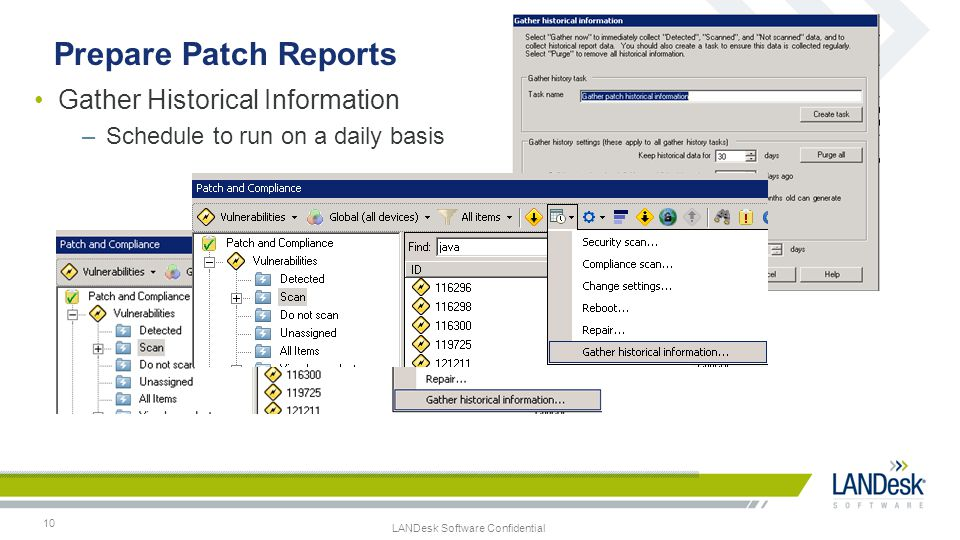 Prepare Patch Reports Gather Historical Information