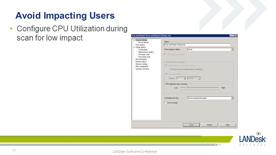 Avoid Impacting Users Configure CPU Utilization during scan for low impact