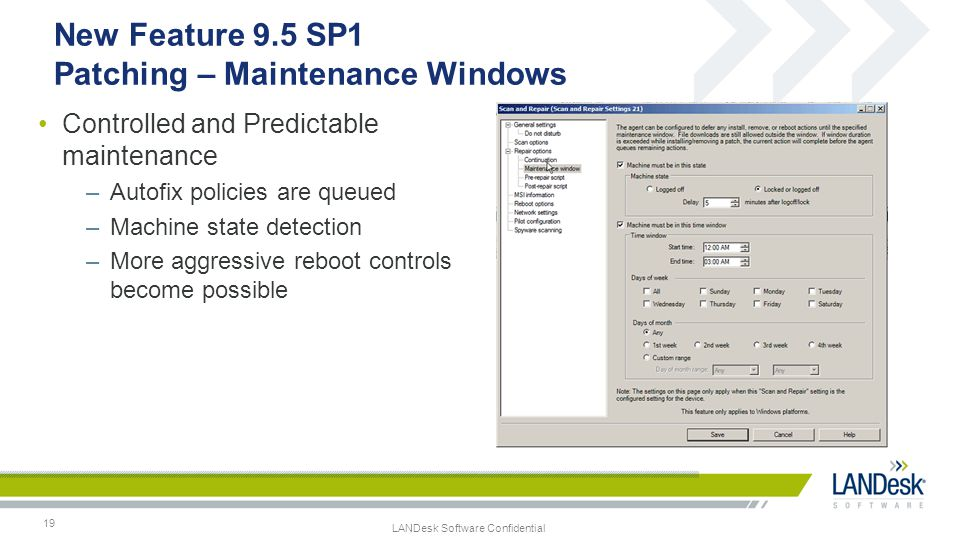 New Feature 9.5 SP1 Patching – Maintenance Windows