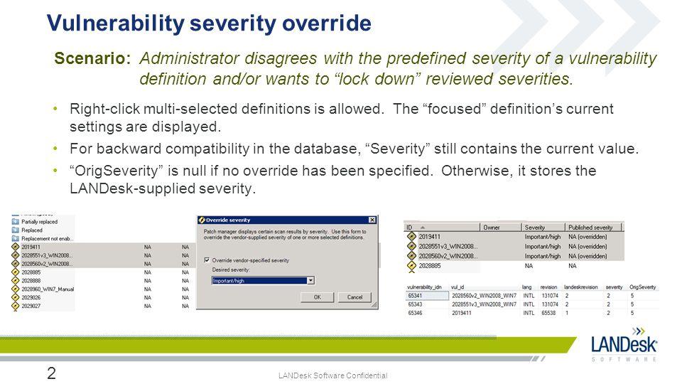 Vulnerability severity override