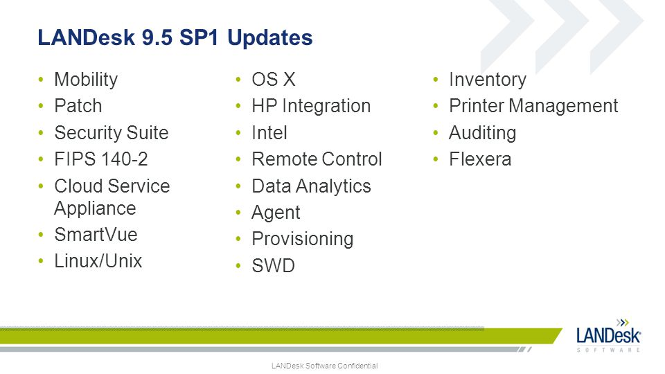 LANDesk 9.5 SP1 Updates Mobility OS X Inventory Patch HP Integration